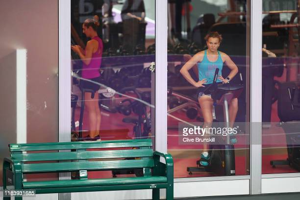 Katerina Siniakova of the Czech Republic trains in the gym on Day Two of the 2019 Shiseido WTA Finals at Shenzhen Bay Sports Center on October 28,...