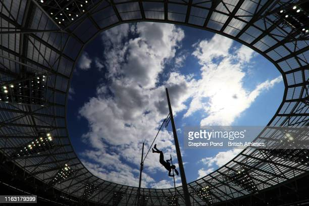 Katerina Stefanidi of Greece competes in the Women's Pole Vault during Day One of the Muller Anniversary Games IAAF Diamond League event at the...