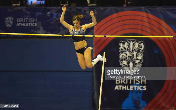 Katerina Stefanidi of Greece competes in the Women's Pole Vault Final during the Muller Indoor Grand Prix 2017 at Barclaycard Arena on February 18...