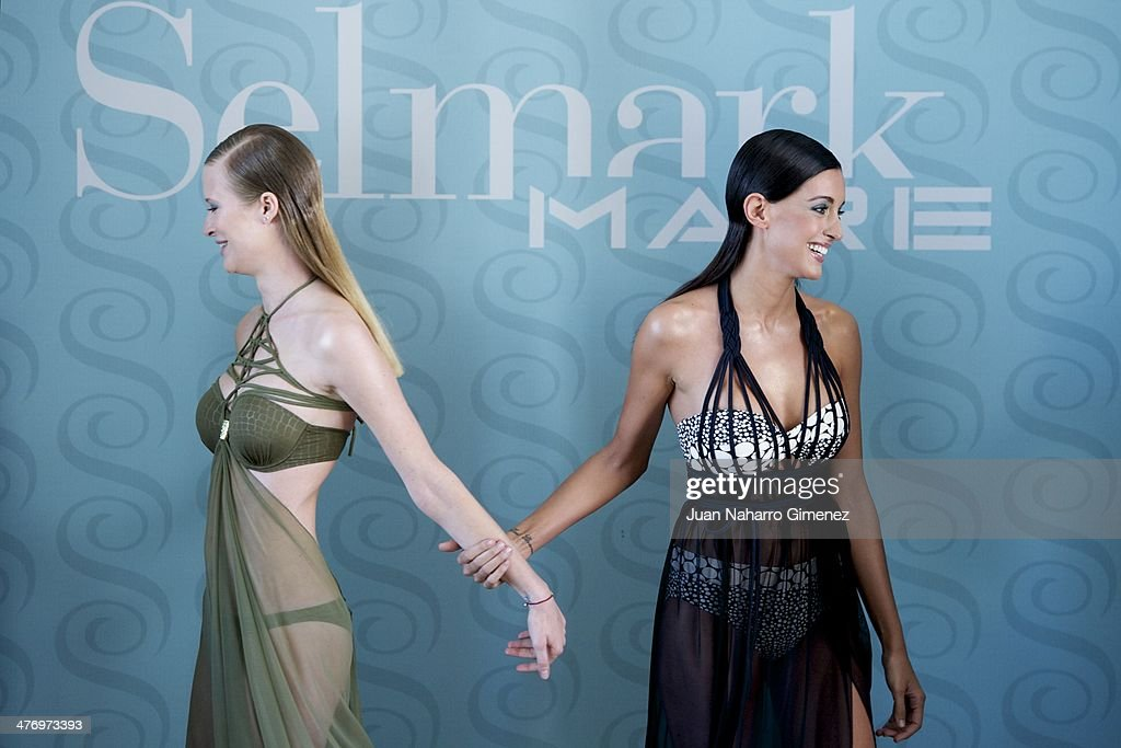 Katerina Strygina (L) and Noelia Lopez present the new Selmark swimwear collection at Circulo de Bellas Artes on March 6, 2014 in Madrid, Spain.
