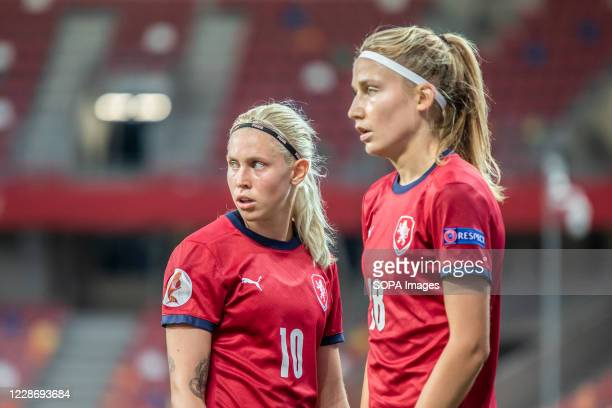 Katerina Svitkova and Kamila Dubcova of Czech Republic are seen in action during the UEFA Women's EURO 2021 qualifying match between Poland and Czech...