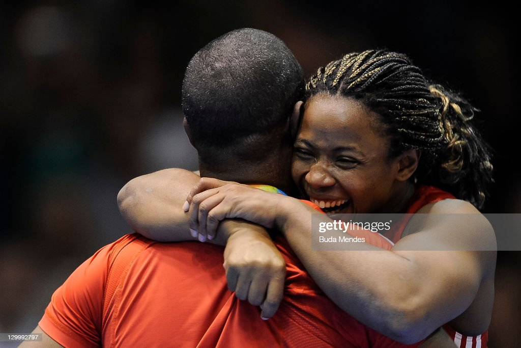 Katerina Vidiaux of Cuba, celebrates a gold medal, in the Women's Freestyle 63 kg during the Pan American Games Guadalajara 2011 at CODE Dome on October 22, 2011 in Guadalajara, Mexico.