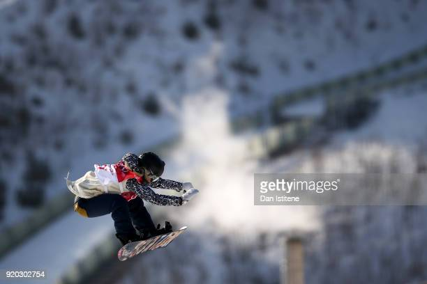 Katerina Vojackova of the Czech Republic takes part in a practice session before the Snowboard Ladies' Big Air Qualification on day 10 of the...