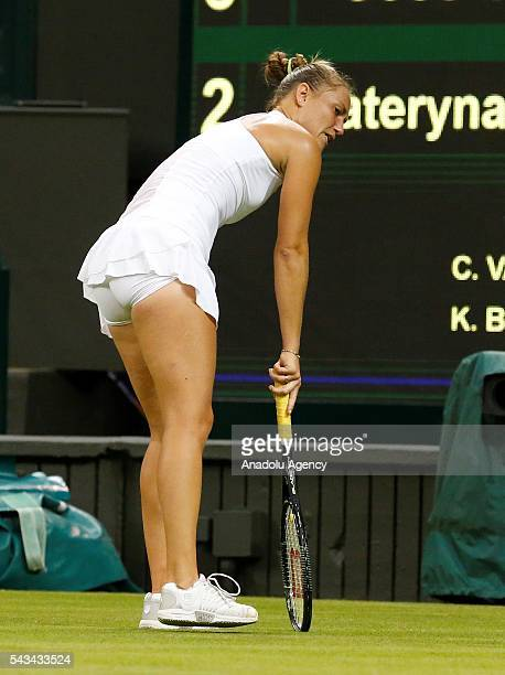 Kateryna Bondarenko of Ukraine in action against Coco Vandeweghe of USA during the Women's Singles on day two of the 2016 Wimbledon Championships at...