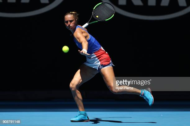 Kateryna Bondarenko of Ukraine plays a forehand in her second round match against Anastasia Pavlyuchenkova of Russia on day three of the 2018...
