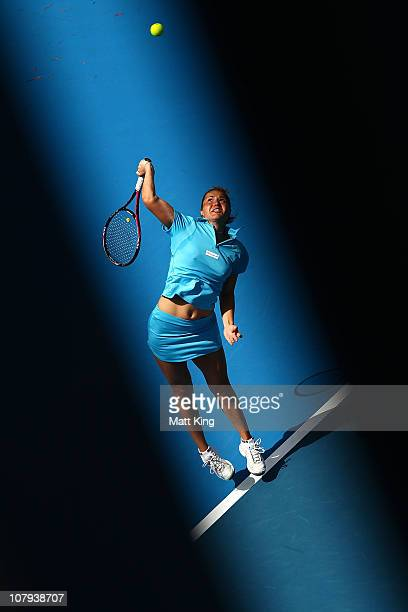 Kateryna Bondarenko of Ukraine serves during her 2nd round qualifying match against Sophie Ferguson of Australia during day one of the Moorilla...