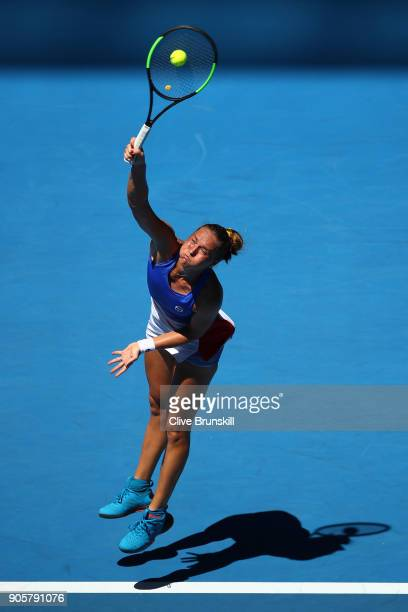 Kateryna Bondarenko of Ukraine serves in her second round match against Anastasia Pavlyuchenkova of Russia on day three of the 2018 Australian Open...