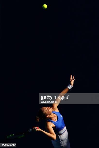 Kateryna Bondarenko of Ukraine serves in her third round match against Magdalena Rybarikova of Slovakia on day five of the 2018 Australian Open at...