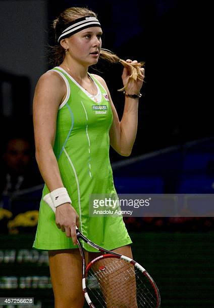 Kateryna Kozlova of Ukraine gestures during the match against Svetlana Kuznetsova of Russia during the Women's singles on the first day of Kremlin...