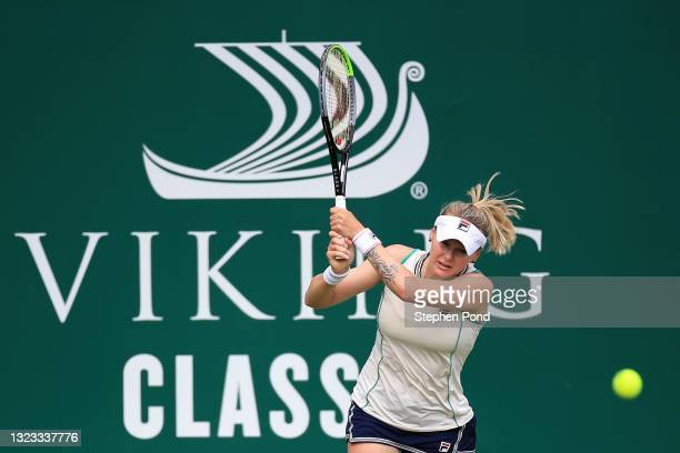 Kateryna Kozlova of Ukraine in action against Coco Vandeweghe of USA in qualifying during the Viking Classic Birmingham at Edgbaston Priory Club on...