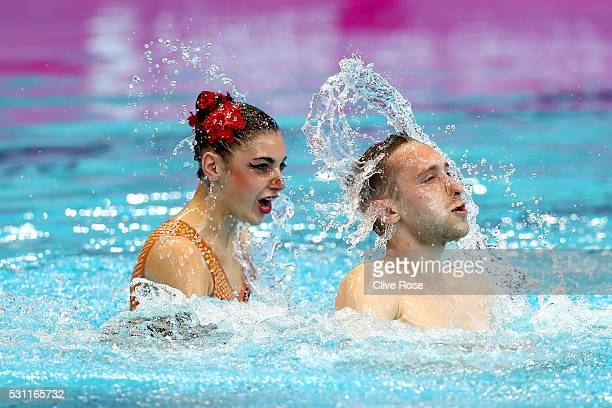 Kateryna Reznik and Anton Timofeyev of Ukraine compete in the Duet Mixed Technichal Final on day five of the 33rd LEN European Swimming Championships...