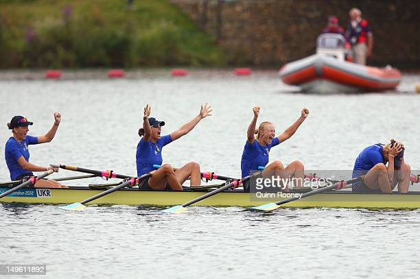 Kateryna Tarasenko Nataliya Dovgodko Anastasiia Kozhenkova and Yana Dementieva of Ukraine celebrate winning gold in the Women's Quadruple Sculls on...