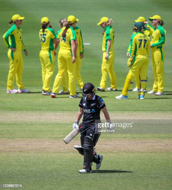 Katey Martin of New Zealand leaves the field after getting out during game one in the women's One Day International Series between Australia and New...
