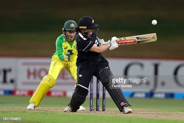 Katey Martin of New Zealand plays a shot during game three of the One Day International series between the New Zealand White Ferns and Australia at...