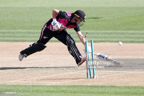 Katey Martin of the White Ferns is run out during the Women's International T20 Game 3 between New Zealand and India at Seddon Park on February 10...