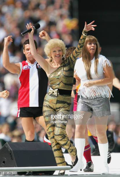 Kath and Kim performs before the AFL Grand Final between the Port Adelaide Power and the Brisbane Lions at the Melbourne Cricket Ground September 25...