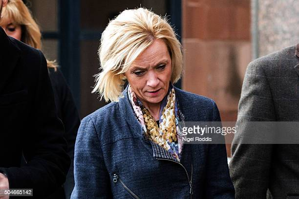 Kath Rathband leaves after appearing at PC David Rathband family's court case against Northumbria police at Newcastle Crown Court on January 12 2016...