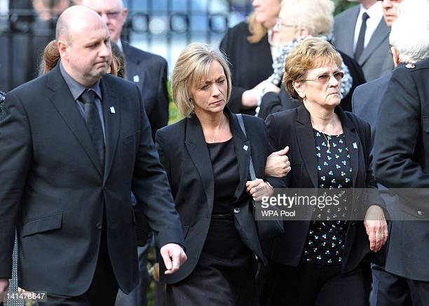 Kath Rathband the widow of Pc David Rathband attends his funeral at Stafford Crematorium on March 17 2012 in Stafford England PC Rathband who was...