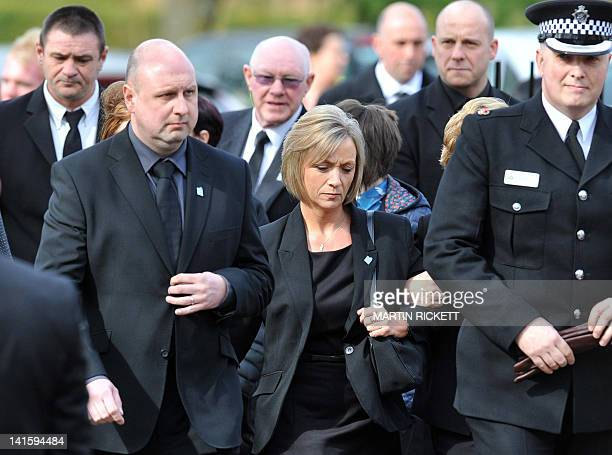 Kath Rathband the widow of police officer David Rathband attends his funeral at Stafford Crematorium on March 17 2012 Rathband a policeman who was...