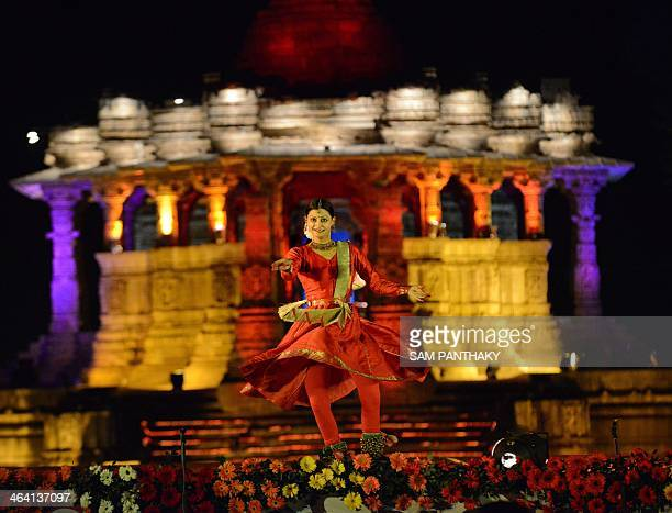 Kathak dancer Namrata Rai performs in front of the 1000 year old Surya Mandir or Sun Temple on the first day of a two day 'Uttarardh Mahotsav' or...