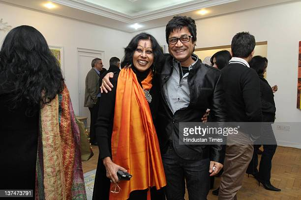 Kathak Dancer Shovana Narayan with Artist Niladri Paul attend a solo art exhibition by artist Trishla Jain at 4 Tilak Marg on January 19 2012 in New...