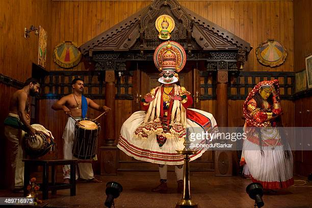 Kathakali dancers during a show in Fort Kochi Kathakali is a highly stylized classical Indian dancedrama noted for the attractive makeup of...