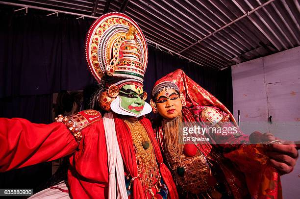 Kathakali dancers performing Kathakali dance, Kerala, India