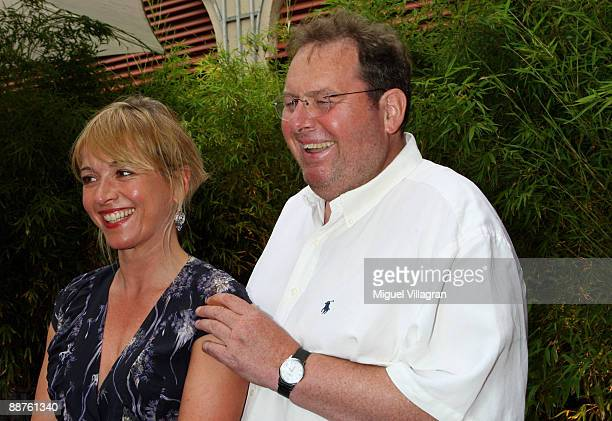 Katharina Abt and Ottfried Fischer pose for a picture during the Bavaria reception at Munich Filmfest on June 30 2009 in Munich Germany