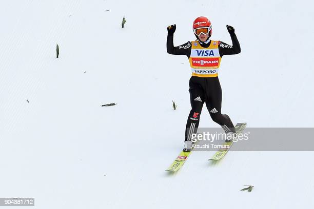 Katharina Althaus of Germany celebrates in the Ladies normal hill individual during day one of the FIS Ski Jumping Women's World cup at Miyanomori...