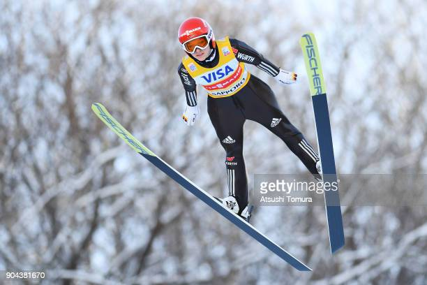 Katharina Althaus of Germany competes in the Ladies normal hill individual during day one of the FIS Ski Jumping Women's World cup at Miyanomori Ski...