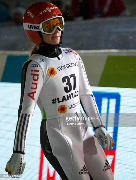 Katharina Althaus of Germany competes in the Women's Ski Jumping HS100 during the FIS Nordic World Ski Championships on February 24 2017 in Lahti...
