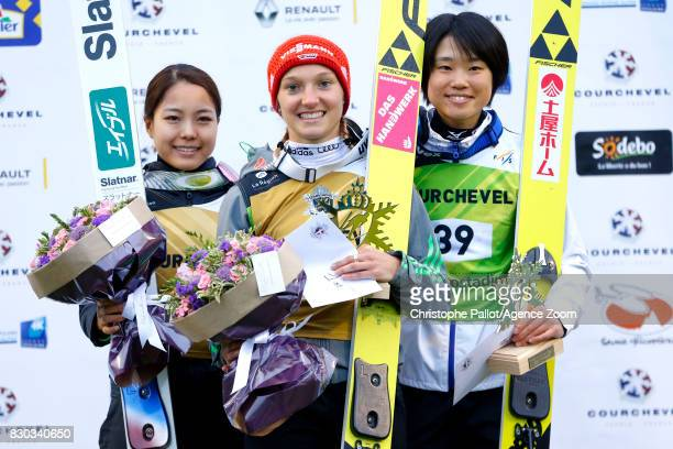 Katharina Althaus of Germany takes 1st place Sara Takanashi of Japan takes 2nd place Ito Yuki of Japan takes 3rd place during the Women's HS 96 at...