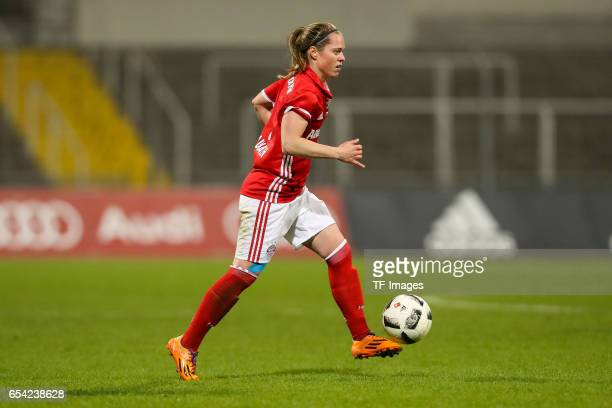 Katharina Baunach of Bayern Muenchen controls the ball during the Women's DFB Cup Quarter Final match between FC Bayern Muenchen and VfL Wolfsburg at...