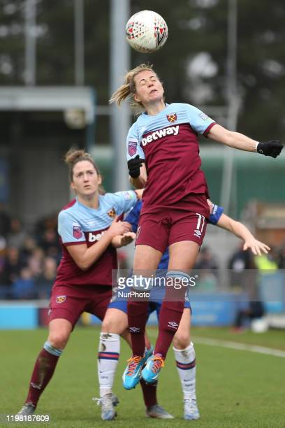 Katharina Baunach of West Ham United Women heading the ball during the Barclays FA Women's Super League match between Chelsea and West Ham United at...