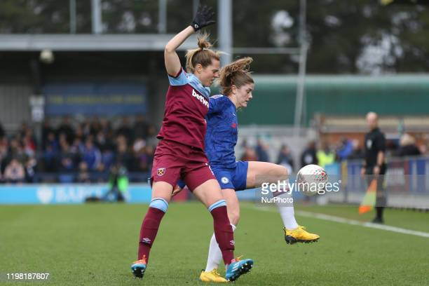 Katharina Baunach of West Ham United Women pressuring Hannah Blundell of Chelsea Women during the Barclays FA Women's Super League match between...