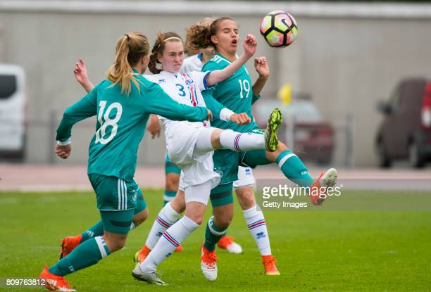 Katharina Blank of Germany and 19 Jasmin Jabbes during the Nordic Cup 2017 match between U16 Girl's Germany and U16 Girl's Iceland on July 6 2017 in...