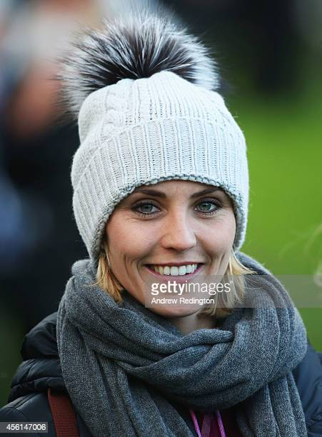 Katharina Boehm fiancee of Sergio Garcia of Europe looks on during the Afternoon Foursomes of the 2014 Ryder Cup on the PGA Centenary course at the...
