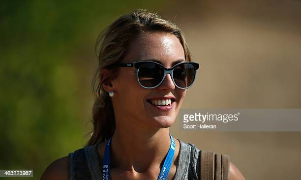 Katharina Boehm follows the play of Sergio Garcia of Spain during the second round of the Abu Dhabi HSBC Golf Championship at the Abu Dhabi Golf...
