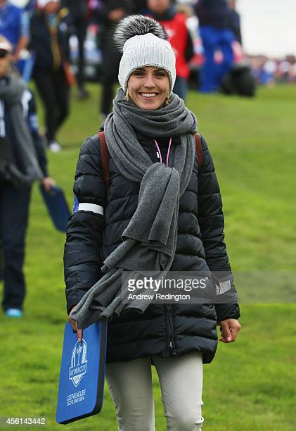 Katharina Boehm partner of Sergio Garcia of Europe looks on during the Afternoon Foursomes of the 2014 Ryder Cup on the PGA Centenary course at the...