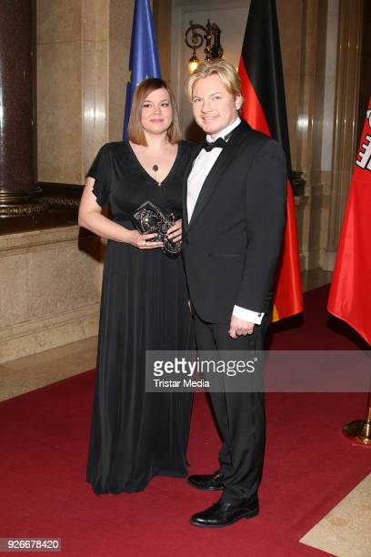 Katharina Fegebank and guest attend the Matthiae Mahl on March 2 2018 in Hamburg Germany