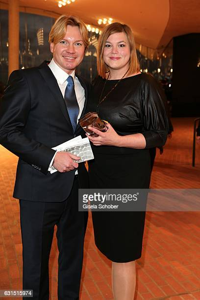 Katharina Fegebank and her boyfriend Mathias Wolff during the opening concert of the Elbphilharmonie concert hall on January 11 2017 in Hamburg...