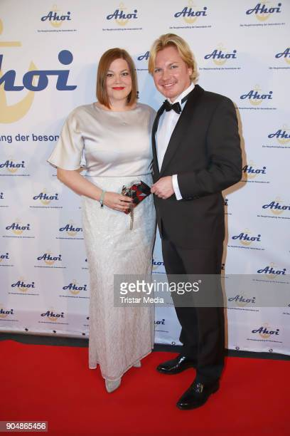 Katharina Fegebank and partner Mathias Wolff attend the 'Ahoi 2018 The special kind of New Year's Reception on January 13 2018 in Hamburg Germany