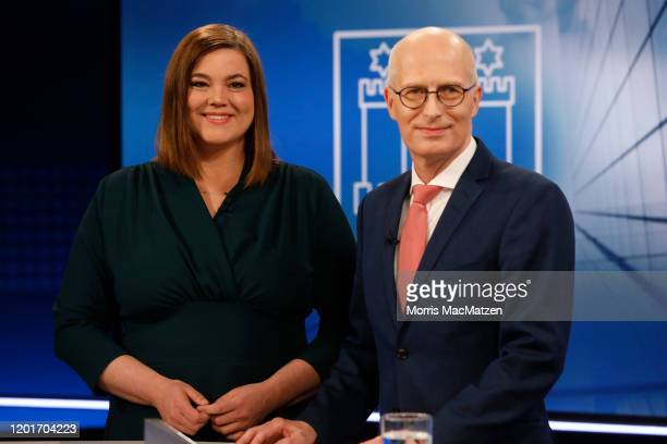 Katharina Fegebank, lead candidate of the German Greens Party and Peter Tschentscher, lead candidate of the German Social Democrats , pose for a...