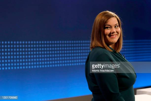 Katharina Fegebank, lead candidate of the German Greens Party poses for a photo before a television debate at NDR studios on February 18, 2020 in...