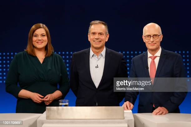 Katharina Fegebank, lead candidate of the German Greens Party, with NDR Television editor in chief Andreas Cichowicz and Peter Tschentscher, lead...