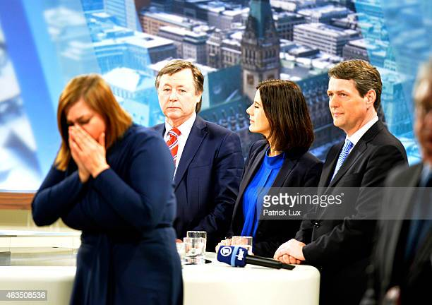 Katharina Fegebank of Germanys Greenes Party Joern Kruse of AFD Katja Suding of FDP and CDU's Dietrich Wersich in a TV studio after the vote in...