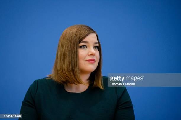 Katharina Fegebank of the German Greens Party , speaks to the media on February 24, 2020 in Berlin, Germany.