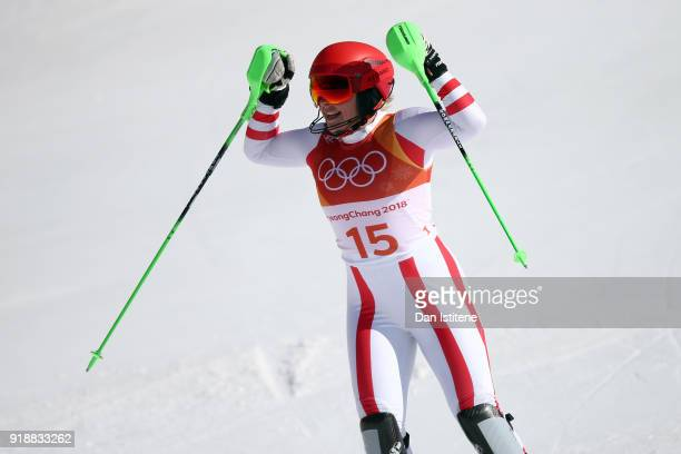 Katharina Gallhuber of Austria celebrates at the finish during the Ladies' Slalom Alpine Skiing at Yongpyong Alpine Centre on February 16 2018 in...