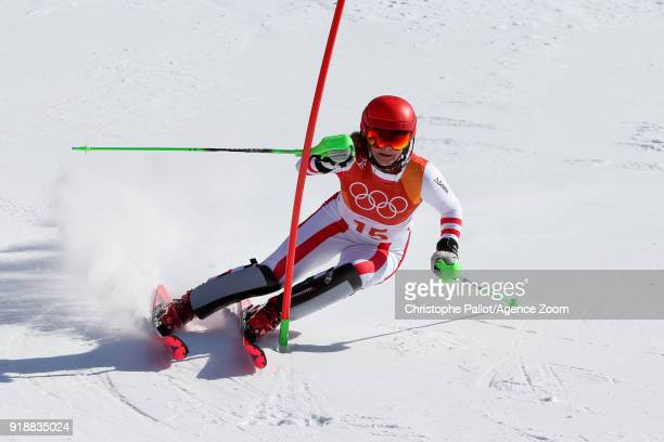 Katharina Gallhuber of Austria competes during the Alpine Skiing Women's Slalom at Yongpyong Alpine Centre on February 16 2018 in Pyeongchanggun...