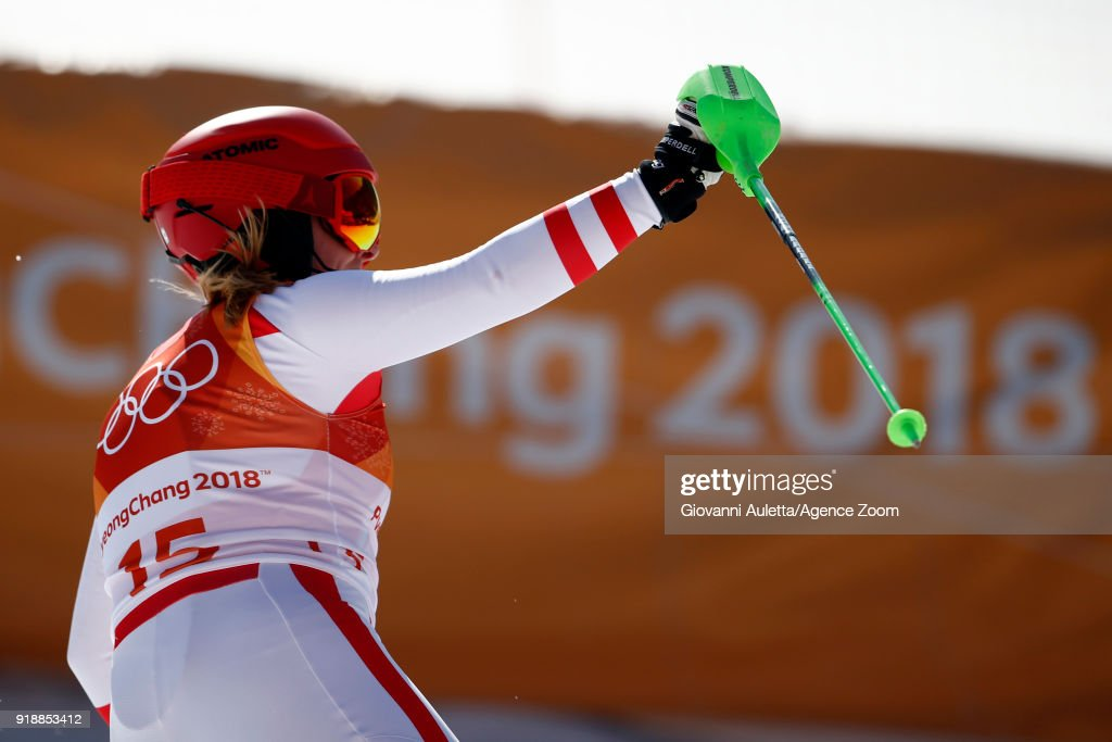 Katharina Gallhuber of Austria wins the bronze medal during the Alpine Skiing Women's Slalom at Yongpyong Alpine Centre on February 16, 2018 in Pyeongchang-gun, South Korea.